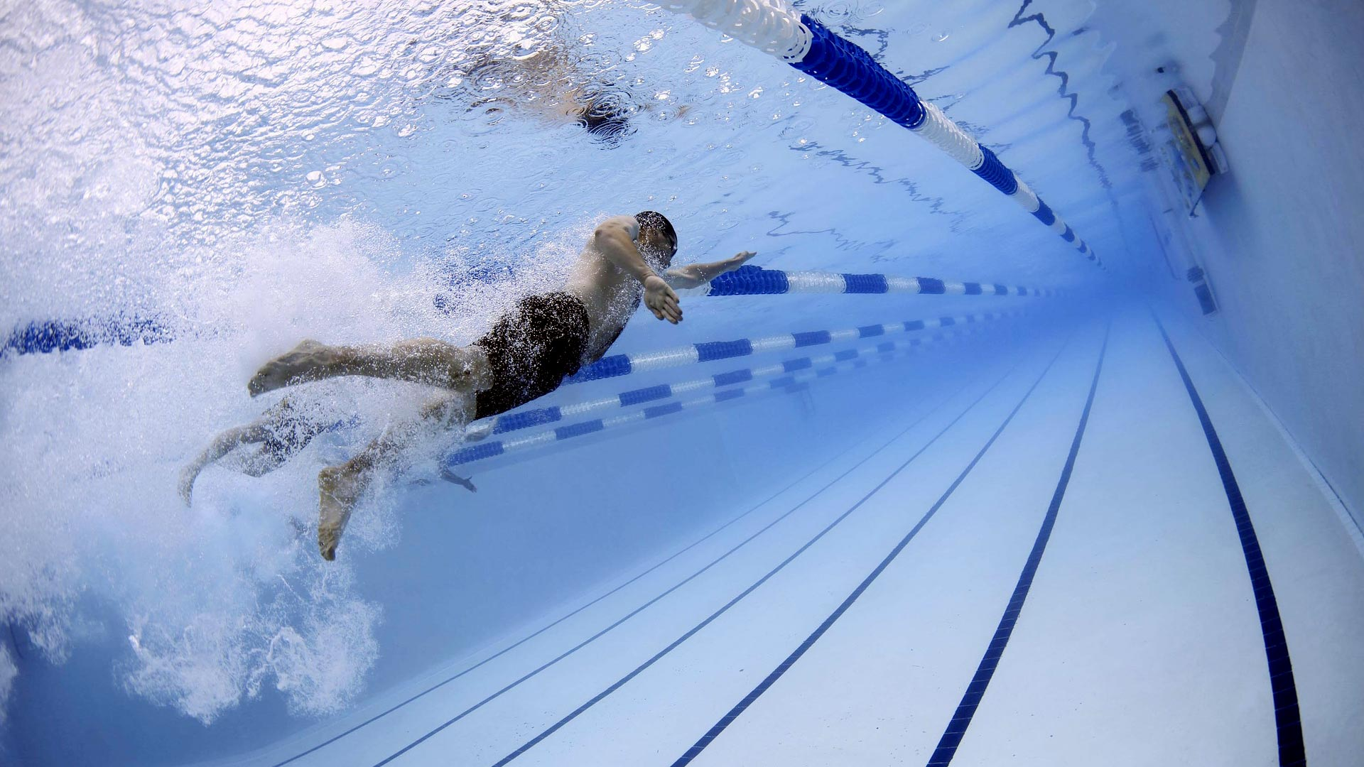 プール水中で泳ぐ
